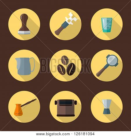 Vector Coffee Barista Equipment Icons.
