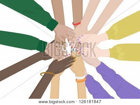 Group of Diverse Hands Together isolated. Team of friends unity