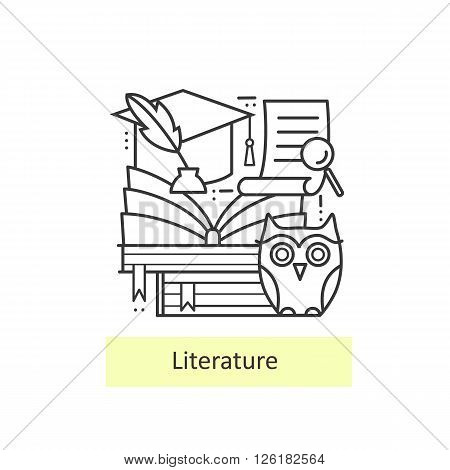 Modern thin line icons literature and education, knowledge and study. Back to school. Modern concept of a collection of vectors.