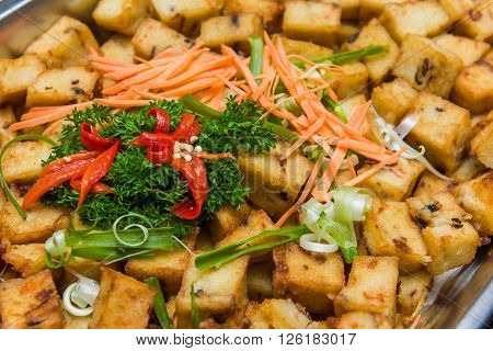Asian Style Deep Fried Carrot Cake Snack