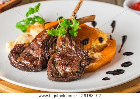 Roasted Lamb Ribs With  Grilled Pumpkin