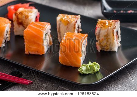 Set Of Salmon & Eel Sushi Rolls