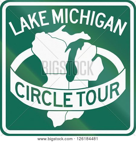 Route Marker For The Lake Michigan Circle Tour
