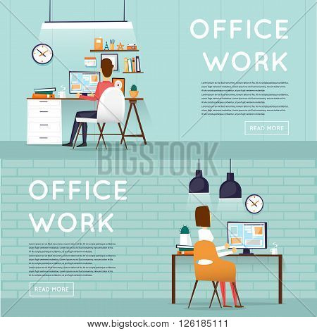 Man and woman sitting at the table and working on the computer. Business, office work, workplace. Flat design vector illustration.