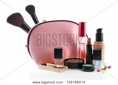 Makeup set with beautician, brushes, false eyelashes and cosmetics, isolated on white