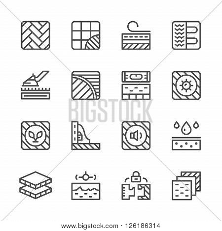 Set line icons of floor isolated on white. Vector illustration