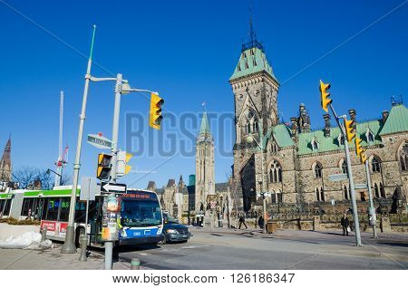 OTTAWA CANADA - April 15 2016: Wellington Street and Canadian Parliament in Ottawa.