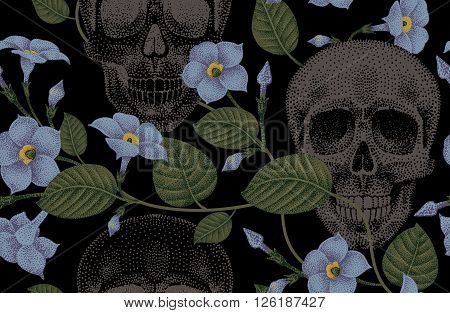 Human skulls and devil's guts. Seamless vector pattern. Illustration of natural organic elements skulls and flowers ivy on a black background.
