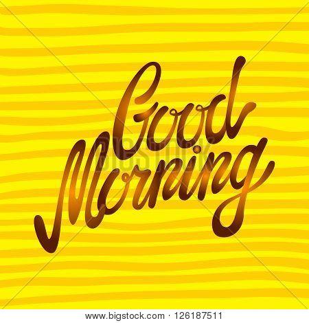 Good Morning Word Written In Calligraphy Style. Handwritten Script. Vector Illustration.