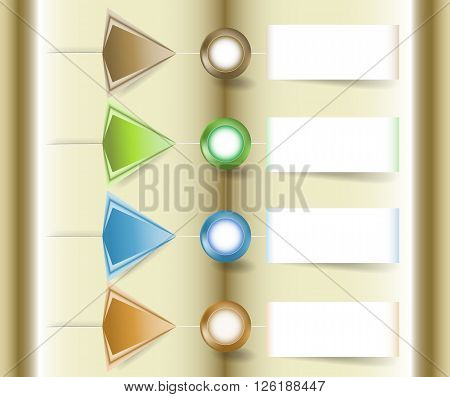 Infographics template with four buttons, arrows and paper notepads