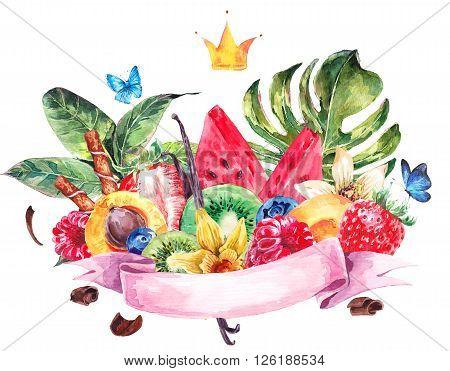 Tropical Watercolor Natural Healthy Food Eco Banner with Ribbon, Crown, Watermelon, Apricot, Kiwi, Vanilla and Berries, Exotic Menu Fruits Card