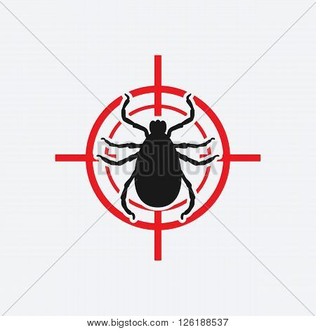 mite icon red target - vector illustration. eps 8