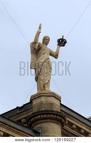 Luxembourg, Luxembourg - May 15: This statue of Angel with Crown is fragment exteriors of the Palace of the Grand Duchy May 15, 2013 in Luxembourg, Luxembourg.