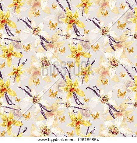 Tropical  seamless watercolor floral pattern, flowers white and yellow orchid, orchid vanilla, butterfly, botanical flower illustration