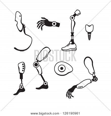 Prosthetic limbs flat icons.  Modern Exoskeleton Prosthetic mechanism. Cyber prosthesis. Vector illustration.