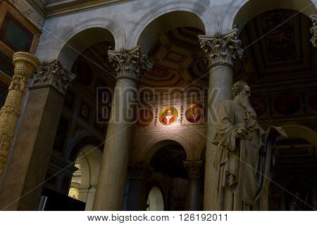 Rome Italy - August 02 2015: the effigy of the Pope Franciscus in Saint Paolo (Paul) in Rome Italy