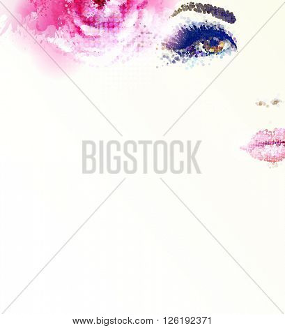 Beautiful abstract women with abstract pink rose