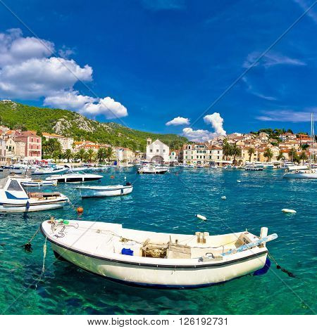 Turquoise waterfront of town Hvar Dalmatia Croatia