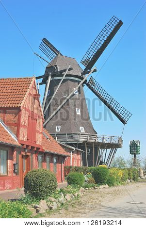 the famous Windmill of Lemkenhafen on Fehmarn at baltic Sea,Ostholstein District,Schleswig-Holstein,Germany