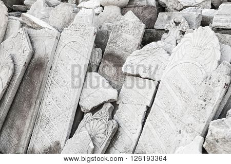 Ancient White Headstones With Arabic Carvings