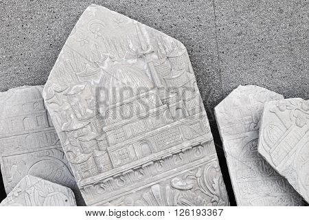 Ancient White Headstone With Arabic Pattern