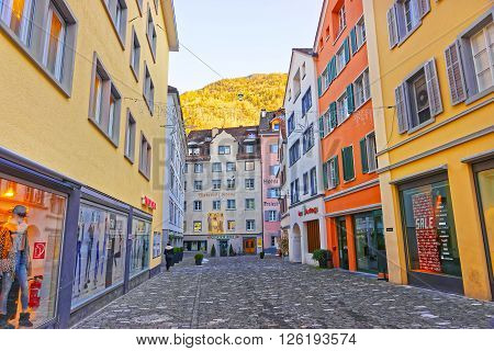CHUR SWITZERLAND - JANUARY 1 2014: Street view of the Old City of Chur. Chur is capital of Graubunden in Switzerland. The city is the oldest one in Switzerland