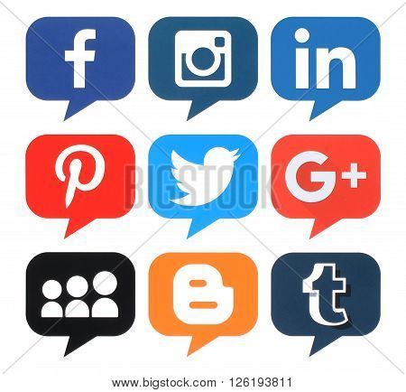 Kiev Ukraine - April 09 2016: Collection of popular bubble shape social media logos printed on paper:Facebook Twitter Google Plus Instagram MySpace LinkedIn Pinterest Tumblr and Blogger