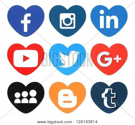 Kiev Ukraine - April 09 2016: Collection of popular heart shape social media logos printed on paper:Facebook Twitter Google Plus Instagram MySpace LinkedIn Youtube Tumblr and Blogger