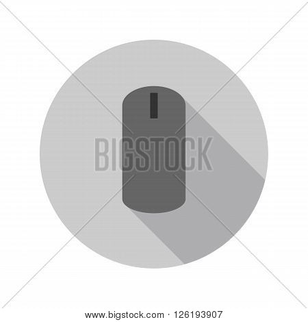 Computer mouse on a gray background made ??in flat design