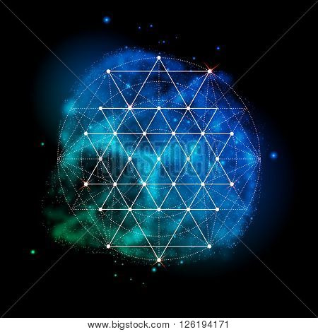Sacred geometry. Vector symbol of alchemy, religion and spirituality. Metatrons Cube. Flower of life sign. Neon cosmos space glowing background.