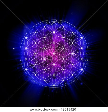 Flower of life sign. Sacred geometry abstract vector illustration. space explosion. Symbol of gensis, alchemy, religion and spirituality. Metatrons Cube.. Neon space glowing background.