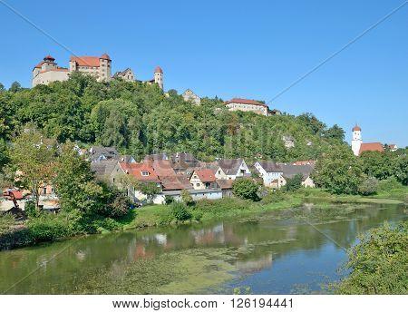 View to Village of Harburg at romantic Road in Bavaria,Swabia,Germany