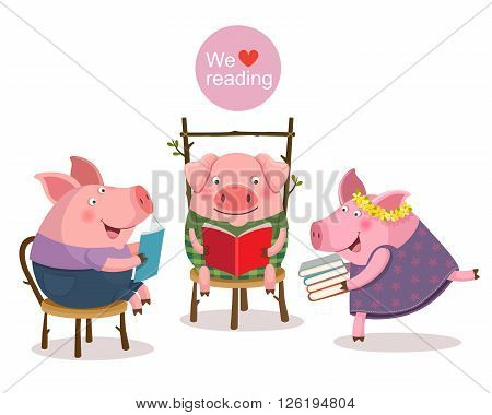 Vector illustration of three little pigs reading a book