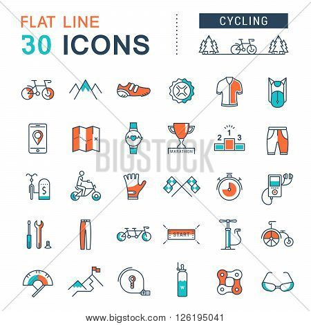 Set vector line icons in flat design cycling bike elements and parts bicycle sport with elements for mobile concepts and web apps. Collection modern infographic logo and pictogram.