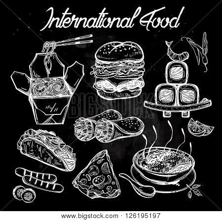 International food set for menu. International world food vector illustrations. Vector menu sketch. Fusion cuisine menu. Hand drawn international food menu. Template for restaurant or take out.