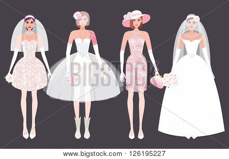 Set of cute girl in a wedding dress. Holiday vector illustration. Fashion white bride dress on a black background. The concept of the modern wedding dress and accessories.