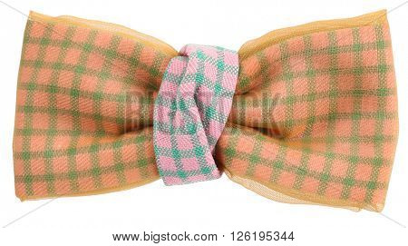 Beige pink sky blue plaid bow tie
