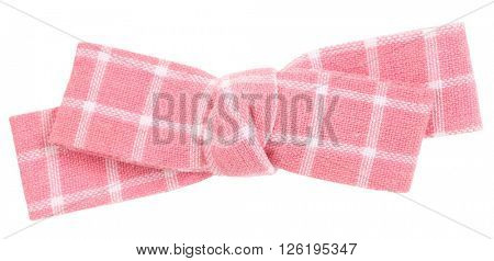 Pink white plaid bow tie