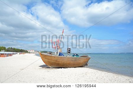 Beach of Binz on Ruegen Island at baltic Sea in Mecklenburg western Pomerania,Germany