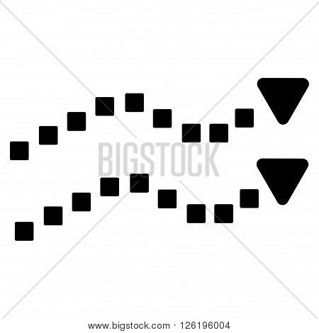 Dotted Trend Lines vector toolbar icon. Style is flat icon symbol, black color, white background, square dots.