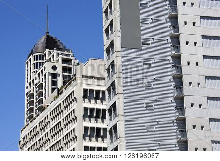 The view of modern concrete buildings in Auckland downtown (New Zealand).
