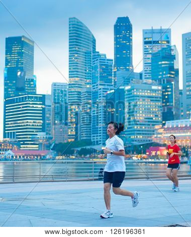 Woman Running In Singapore