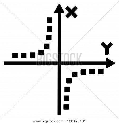 Hyperbola Plot vector toolbar icon. Style is flat icon symbol, black color, white background, square dots.