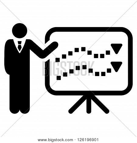 Trends Lecture vector toolbar icon. Style is flat icon symbol, black color, white background, square dots.