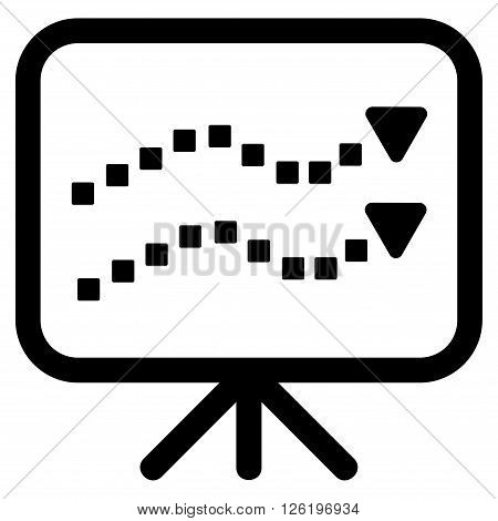 Trends Presentation vector toolbar icon. Style is flat icon symbol, black color, white background, square dots.