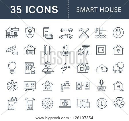 Set vector line icons with open path smart home smart systems and technology with elements for mobile concepts and web apps. Collection modern infographic logo and pictogram.