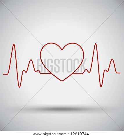 Heartbeat Connect Heart Shape and EKG Medical Concept