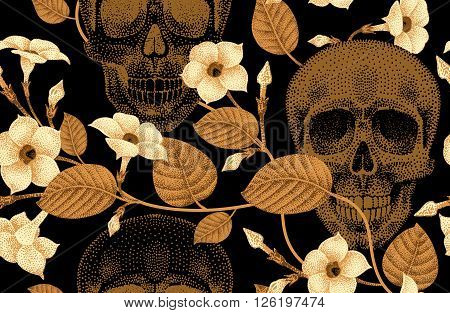 Template pattern of human skulls and flowers seamless vector. Vintage. Human skulls and devil's guts on black background. Illustration of gold human skulls and plants. Designed on the theme of death.