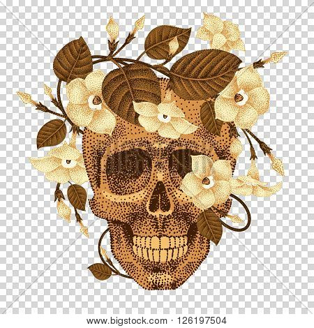 Dead head with a wreath of ivy flowers isolated on transparent background. Vector illustration of human skull and plants devil guts. Current trend print with gold foil. Composition natural elements.