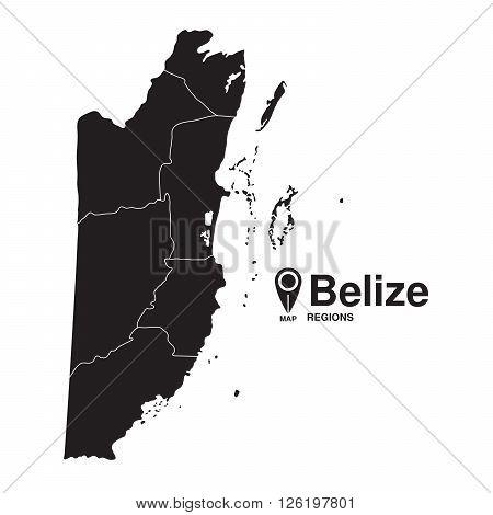 Belize map regions. Belize vector map silhouette